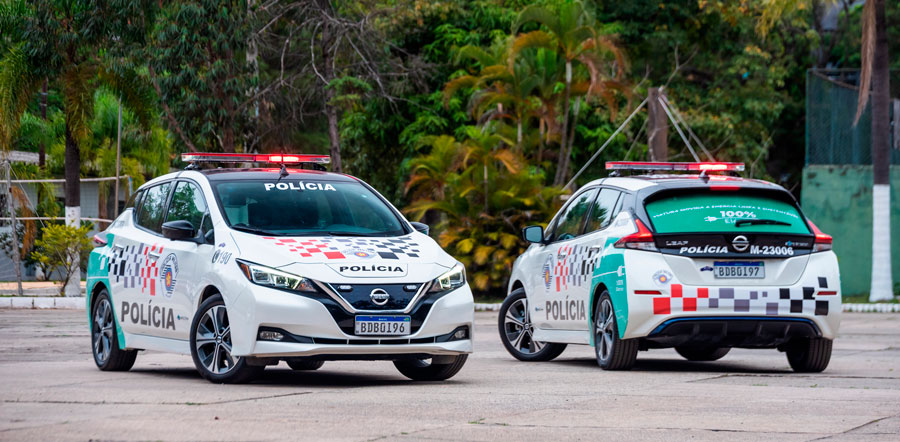 Polícia Militar de São Paulo testa modelo elétrico da Nissan